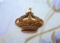 Large Matte Gold Ox Brass Crown Stamping (1) - GOFF3819 Jewelry Finding