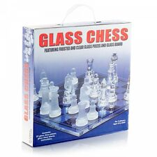 32PCS FROSTED GLASS BOARD CHESS TRADITIONAL CLASSIC FAMILY GAME GIFT FUN PARTY