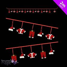 * 2m Rojo sombrero de Santa Papá Noel Fieltro Navidad Colgante Decoración Guirnalda Banner *