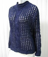 FREE PEOPLE LONG SLEEVE MOCK NECKLINE NET CROCHET SWEATER SIZE S BLUE