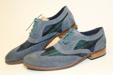 Cole Haan C10879 Mens 11 M Blue/Green Plaid Leather Wing Tip Dress Shoes