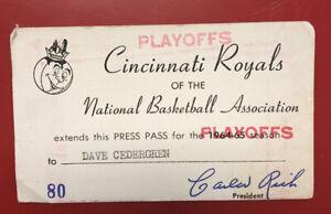 Cincinnati Royals media press pass 1964-1965 playoffs