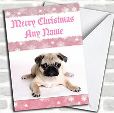 Pug Pink Christmas Customised Card