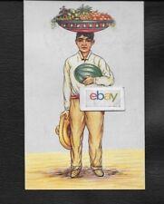 MEXICAN MAN FRUIT VENDOR VENDEDOR DE FRUTAS LITHOGRAPH 1960 POSTCARD