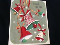 #819 Fun Vintage Christmas Card 40s Whimsy Bells Retro Swirls