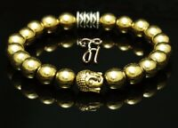 Hämatit gold / Hematit Armband Bracelet Perlenarmband Buddhakopf gold 8mm