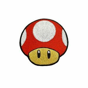 Red Mushroom Embroidered Patch Iron On Mario's Jacket Badge Jeans Hat Applique
