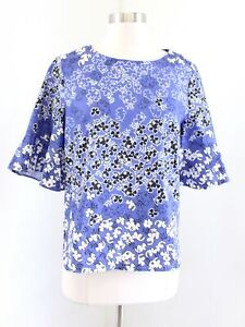 Tyler Boe Womens Blue Black White Floral Print Flared Sleeve Blouse Top Size S