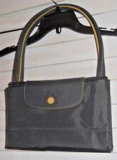 NWT Auth Longchamp Paris~Art 2 Wear~NewStyl Lg Le Pliage Gray/Yw Long Handle Bag