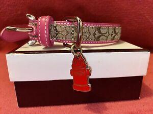 Coach XS Extra Small Dog Collar Pink Mini Signature RARE