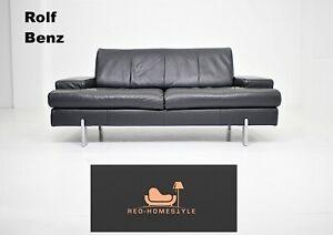 Rolf Benz Ak Designer Sofa Leder Couch Schwarz Zweisitzer Sitz Wohnzimmer Modern