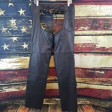 Hudson Leather Unisex Black Leather Zip / Snap Up Motorcycle Riding Chaps Small