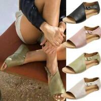 Women Flat Gladiator Sandals Summer Beach Open Toe Leather Shoes Flip Flops 2019
