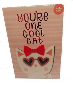 American Greetings Happy Valentine Day Card YOURE ONE COOL CAT Dress Up STICKERS
