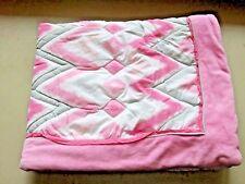 Circo Pink Zzzz's Baby Girl Nursery Crib Comforter Chevron Gray White Blanket