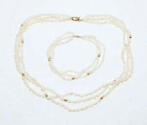 2Pc 14k Yellow Gold & Baroque Freshwater Pearl Necklace & Bracelet (KaT)#27