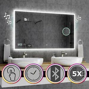 Bosten Badspiegel mit LED Beleuchtung Wandspiegel  BLUETOOTH UHR SCHALTER A03