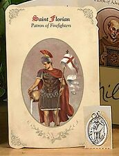 St Florian Patron Saint of Firefighters Holy Card with Medal NEW SKU NS217