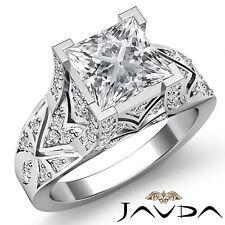 1.6ctw Antiguo Pavé Anillo de Compromiso Diamante Princesa GIA F-VS2 Oro Blanco