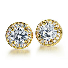 Round Cut 5mm Moissanite Surround CZ Jewellery Yellow Gold GP Stud Earrings Gift
