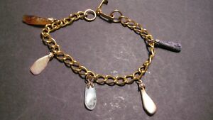 VINTAGE GOLD PLATED CHAIN BRACELET WITH AGATE DROPS