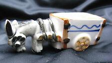 Vintage Occupied Japan Porcelain Donkey Pulling Cart  Planter, Toothpick Holder