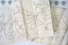 Vintage iron on embroidery transfer- Arts & crafts william morris style poppies