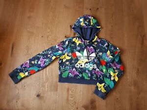 🌹 ADIDAS Womens Navy Floral Cropped Hoodie size 10 🌹