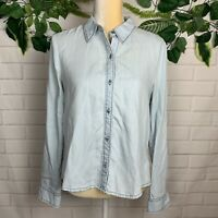 Holding horses Anthropologie women's button down blouse denim top size Small