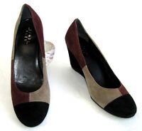 LUNDI BLEU Chaussures compensées cuir velours noir bordeaux taupe 38 EXCEL ETAT