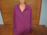 Used Womens Plus Size 3X CJ Banks Purple Button Front Blouse Top Shirt 3/4 @@
