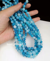 diy 8mm Round Natural Stone Loose Gemstone Beads Blue Efflorescent Agate 15""