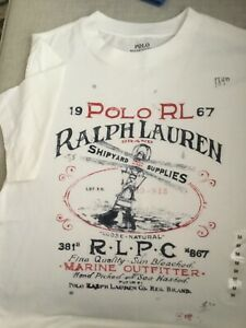 Polo Ralph Lauren Cotton Nautical Nevis Tee Shirt Sz M (10-12) youth NWT