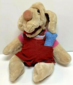 Wrinkles Dog Plush w/ Red Overalls Bone & Tag Vintage Stuffed Hand Puppet Tan