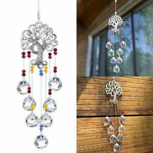 Tree Of Life Pendant Hanging Crystal Rainbow Suncatcher Glass Ball Prisms