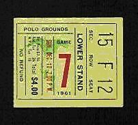 1961 AFL CHAMP HOU OILERS @ NY TITANS TKT STUB JETS