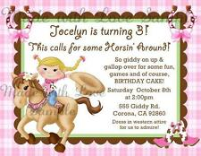 Horse BLONDE Cowgirl Birthday Party Invitations Pink Horseshoe Boots CUTE
