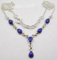 "925 Sterling Silver NAVY BLUE LAPIS LAZULI Drop Stones ELEGANT Necklace 18 5/8"""