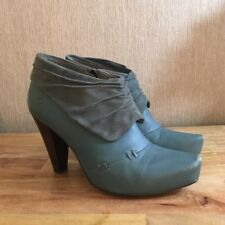 Ankle Boots Size 4 Green Leather Suede Pixie Fairy Pagan Witchy Festival Shoes
