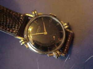 BENRUS MEN'S 15J BB3  WATCH  BLACK DIAL BEAUTY WITH KNOTTED BEZEL JUST OFF LUGS