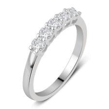 Women's 10K White Gold Round Cut 5-Stone Diamond Bridal Band Ring 0.50CT