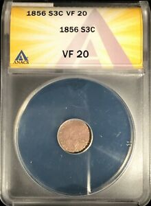 1856 3 Cent Silver == ANACS VF-20 == Nice Original Look == Free Shipping  !