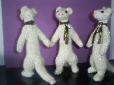 Small* FERRET* Sparkly gift for ferret lover*Handmade* Cream & Gold 5/6 ins