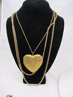 "VINTAGE Fancy Engraved Love HEART LOCKET Pendant Triple Chain NECKLACE 18"" drop"