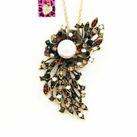 Betsey Johnson Pearl Crystal Feather Flower Pendant Chain Necklace/Brooch Pin