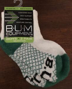 Boys B U M Equipment 2 Pairs Quarter Socks ~NEW~ White/Green (Fits Shoe Size 1-7