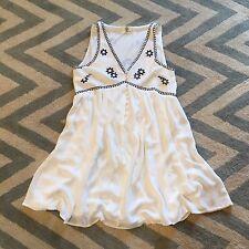 New ANTHROPOLOGIE Women's Summer Market White Blue Embroidered Boho Dress Small