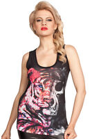 Tiger Lily Half Skull Gothic Alternative Long Vest Top