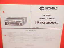 1972 HITACHI 8-TRACK STEREO TAPE PLAYER FACTORY SERVICE MANUAL MODEL CS-1400IC