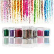 12 Colours Glitter Dust Powder-Set For Nail Art Tips Decoration Crafts DIY New